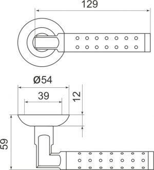 Дверная ручка Eridan LD36-1SN/CP-3 матовый никель/хром