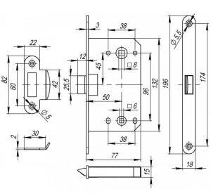 Защёлка врезная LH 96-50 P SN Матовый никель Box
