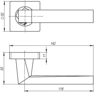 Дверная ручка CORSICA SQ003-21SN-3 матовый никель