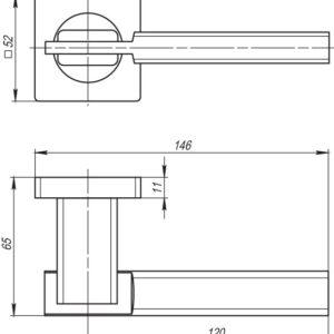 Дверная ручка TRINITY SQ005-21SN/CP-3 матовый никель/хром