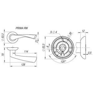 Дверная ручка PRIMA RM SN/CP-3 мат.никель/хром