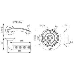 Дверная ручка INTRO RM SN/CP-3 мат.никель/хром, квадрат 8х140 мм (тех. упаковка)
