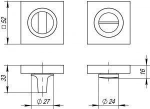Ручка поворотная BK6 KM SN/CP-3 мат.никель/хром