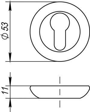 Накладка под цилиндр ET RM AB/GP-7 (бронза/золото)