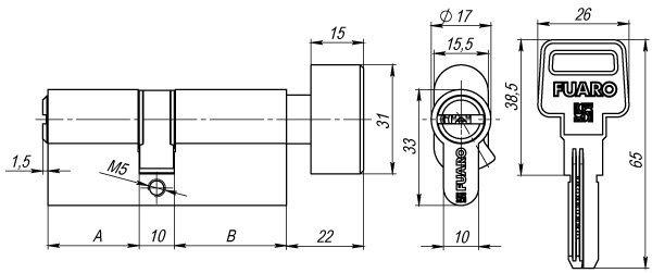 Цилиндровый механизм с вертушкой R602/80 mm (30+10+40) CP хром 5 кл.