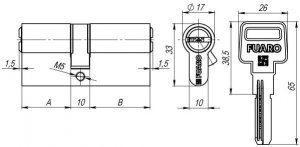 Цилиндровый механизм R600/60 mm (25+10+25) PB латунь 5 кл.