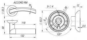 Дверная ручка ACCORD RM SN/CP-3 мат.никель/хром