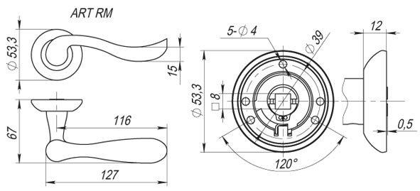Дверная ручка ART RM AB/GP-7 (бронза/золото)