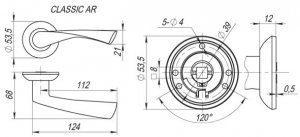 Дверная ручка CLASSIC AR SN/CP-3 матовый никель/никель, квадрат 8x140 мм