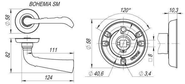 Дверная ручка BOHEMIA SM AB-7 матовая бронза