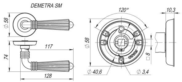 Дверная ручка DEMETRA SM AB-7 матовая бронза