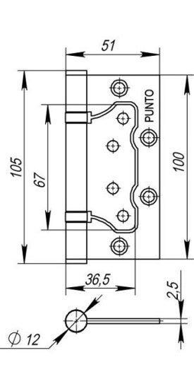 Петля универсальная без врезки 500-2BB 100x2,5 GR (графит)