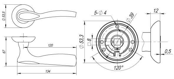 Дверная ручка ARIA RM CFB-18 кофе глянец