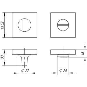 Ручка поворотная BK6 DM SN/CP-3 матовый никель/хром