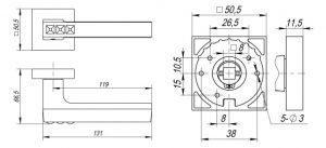 Дверная ручка CRYSTAL FLASH DM CF-17 кофе