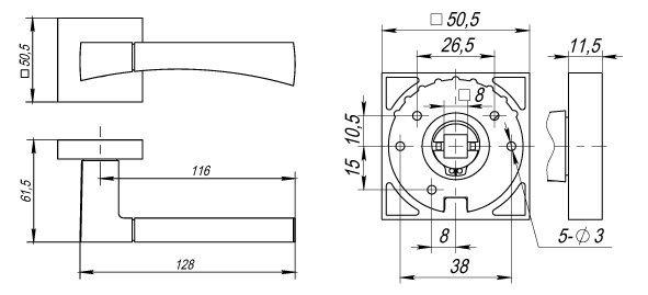 Дверная ручка DELTA DM CF-17 кофе