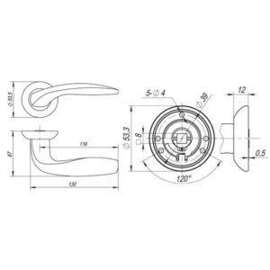 Дверная ручка VITA RM SN/CP-3 матовый никель/хром