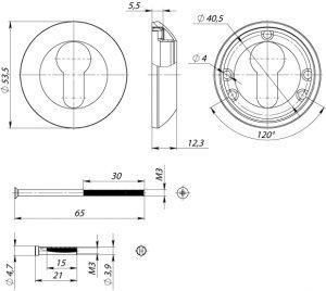 Накладка под цилиндр ET AR SN/CP-3 мат.никель/хром
