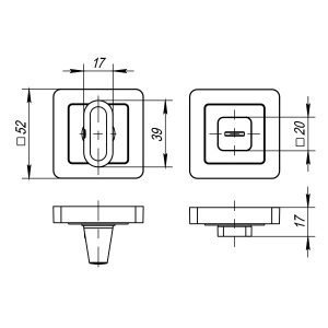 Ручка поворотная BK6 QR GR/CP-23 графит/хром