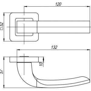 Дверная ручка ORION QR GR/CP-23 графит/хром
