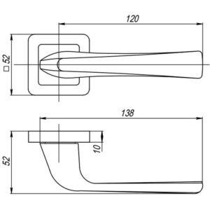 Дверная ручка SATURN QR GR/CP-23 графит/хром