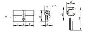 Цилиндровый механизм Z400/60 mm (25+10+25) PB латунь 5 кл.