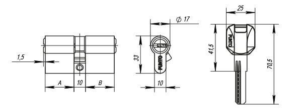 Цилиндровый механизм Z400/100 mm (45+10+45) CP хром 5 кл.