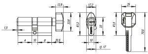 Цилиндровый механизм с вертушкой Z402/60 mm (25+10+25) CP хром 5 кл.