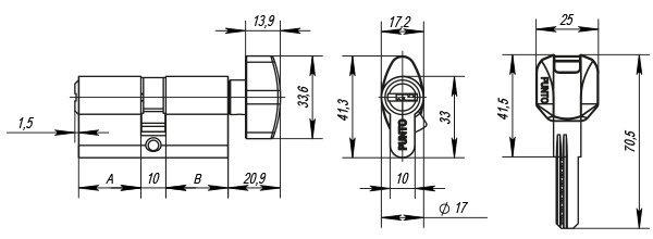 Цилиндровый механизм с вертушкой Z402/70 mm (30+10+30) PB латунь 5 кл.