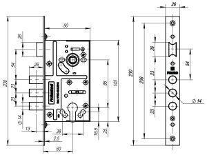 Корпус врезного замка c защёлкой V10/C-60.85.3R14