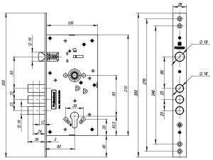 Корпус врезного замка c защёлкой V25/C-60.85.3R16