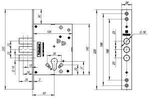 Корпус врезного замка V25/C-60.00.3R16