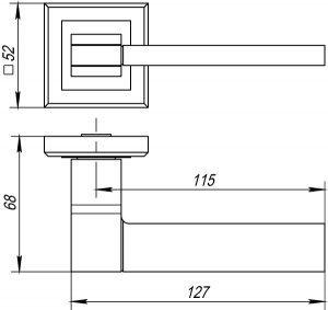 Дверная ручка TECH QL GR/CP-23 графит/хром 1СОРТ
