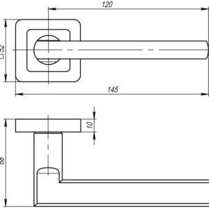 Дверная ручка PLUTON QR GR/CP-23 графит/хром