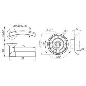 Дверная ручка ACCORD RM SG/GP-4 матовое золото/золото, квадрат 8x140 мм (тех. упаковка)