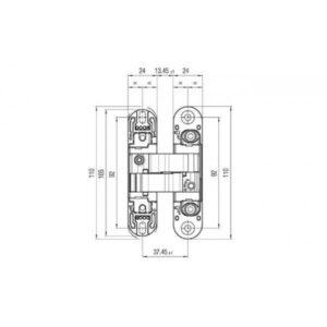 Петля скрытая K1000 3D цвет: белая матовая 180 ° вес двери 40 / 52кг