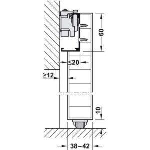 Комплект фурнитуры DESIGN 80-M для первого дверного полотна до 80 кг, с ходовой шиной алюминий без покрытия 1100 мм и нижней опорнойнаправляющей 2200 мм