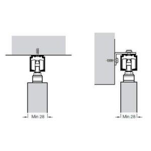Комплект фурнитуры Slido Classic 40-P, весом дверного полотна до 40кг, ширина ≥ 592 мм, с 1-сторонней доводчиком, ходовой шиной 2 м