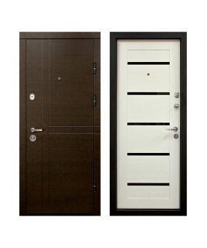 Входная дверь ПК-180/161 Украина МДФ/МДФ венге горизонт темн/Царга белая III ПЕТЛИ (960) R