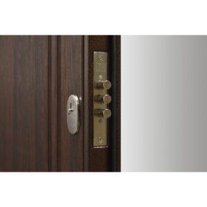 Входная дверь ПУ-01 Украина мет/МДФ орех коньячный (960) R б/а
