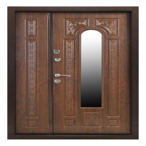 Входная дверь ПК-139 (КОВКА+СТЕКЛО) Украина МДФ/МДФ VINORIT Дуб темный III ПЕТЛИ (1200) L