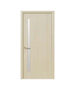 Межкомнатные двери Глория ПВХ DeLuxe ясень new со стеклом сатин