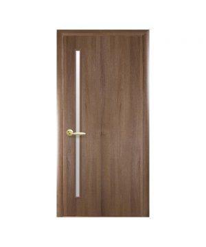 Межкомнатные двери Глория ПВХ DeLuxe золотая ольха со стеклом сатин