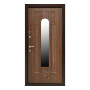 Входная дверь ПК-139 (КОВКА) Украина МДФ/МДФ VINORIT Дуб темный III ПЕТЛИ (960) R с замком КАЛЕ
