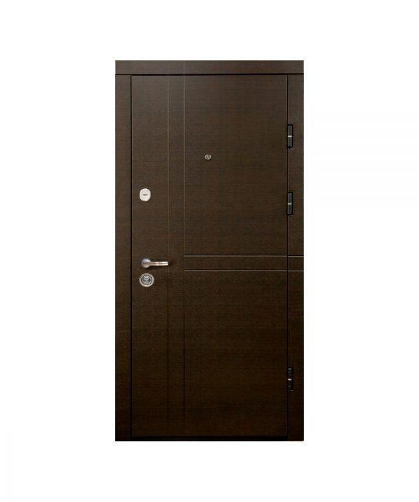 Входная дверь ПК-180/161 Украина МДФ/МДФ венге горизонт темн/Царга Венге III ПЕТЛИ (860) L