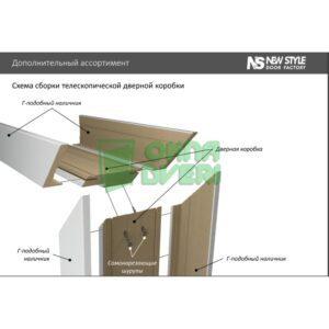 Доборная планка Premium магнолия МДФ телескопическая (стоевая) Н 250*10*2060