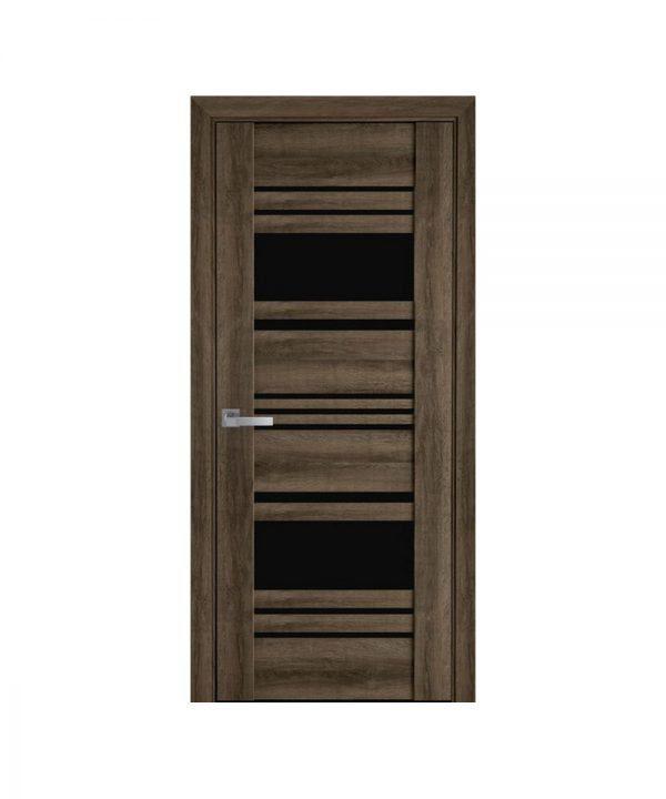 Межкомнатные двери Ницца ПВХ Viva бук табачный С черным стеклом
