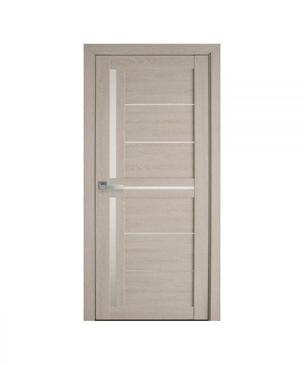 Межкомнатные двери Диана ПВХ Ультра дуб молочный со стеклом сатин