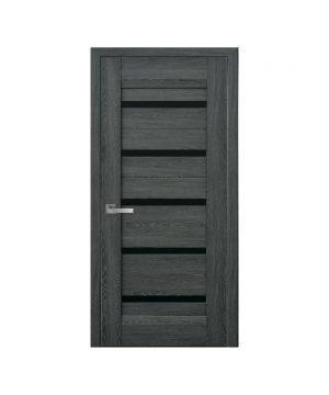 Межкомнатные двери Лира Нано Флекс дуб графит С черным стеклом
