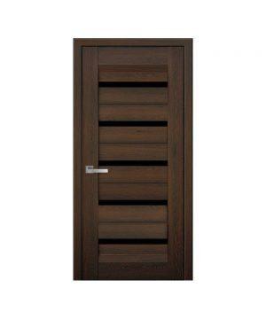 Межкомнатные двери Лира Нано Флекс дуб шоколадный С черным стеклом